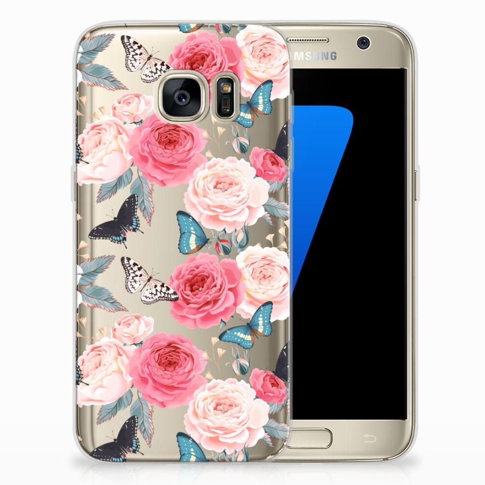 Samsung Galaxy S7 Uniek TPU Hoesje Butterfly Roses
