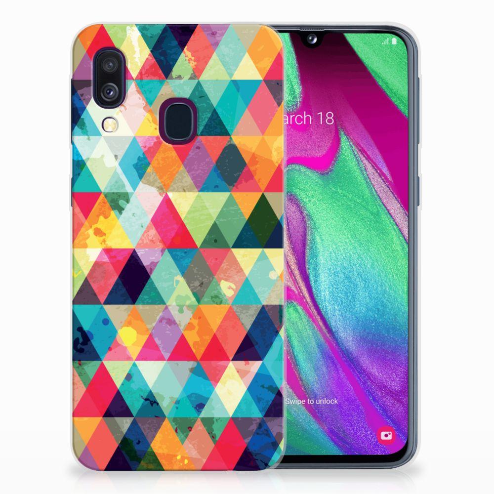 Samsung Galaxy A40 Uniek TPU Hoesje Geruit