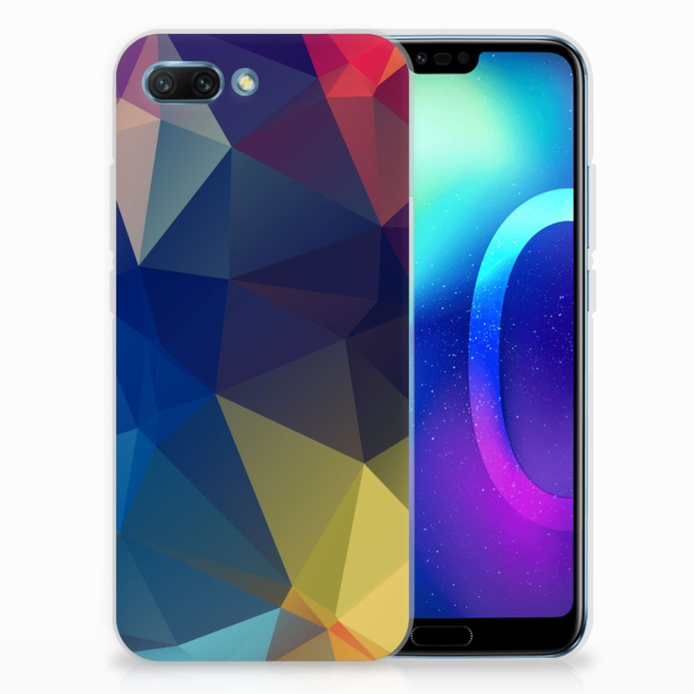 Huawei Honor 10 TPU Hoesje Polygon Dark