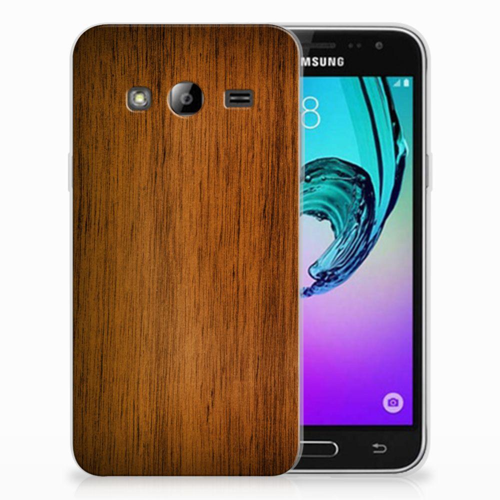 Samsung Galaxy J3 2016 Bumper Hoesje Donker Hout
