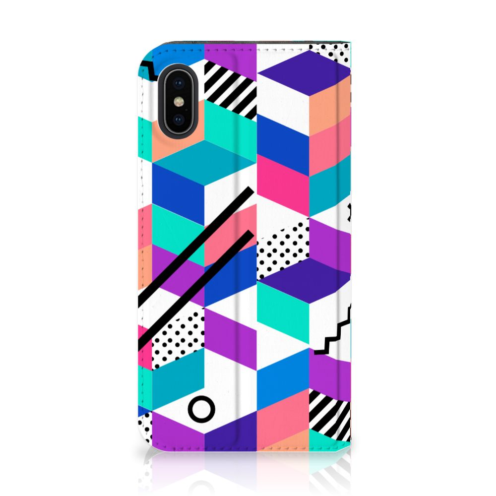 Apple iPhone X | Xs Standcase Hoesje Design Blocks Colorful