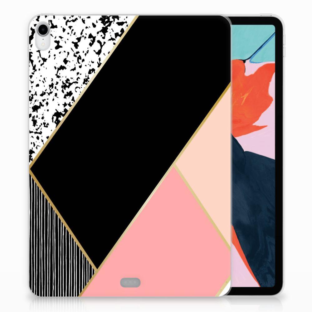 Apple iPad Pro 11 inch (2018) Back Cover Zwart Roze Vormen