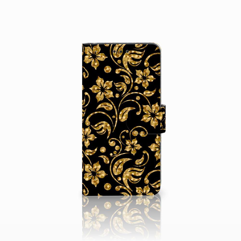 Samsung Galaxy A8 2018 Boekhoesje Design Gouden Bloemen