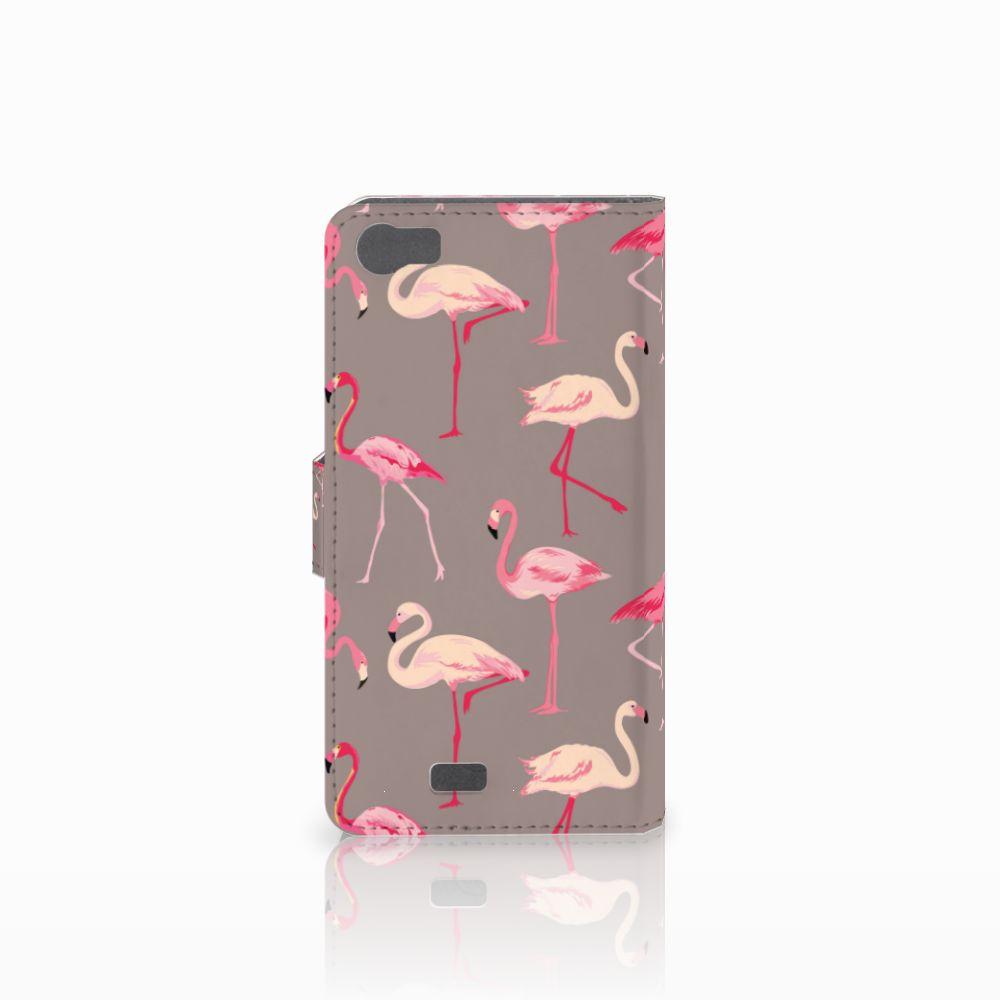 Wiko Lenny Telefoonhoesje met Pasjes Flamingo