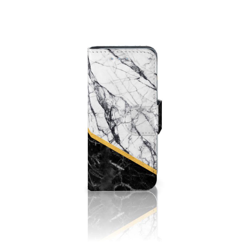 Samsung Galaxy S4 Mini i9190 Uniek Boekhoesje Marble White Black