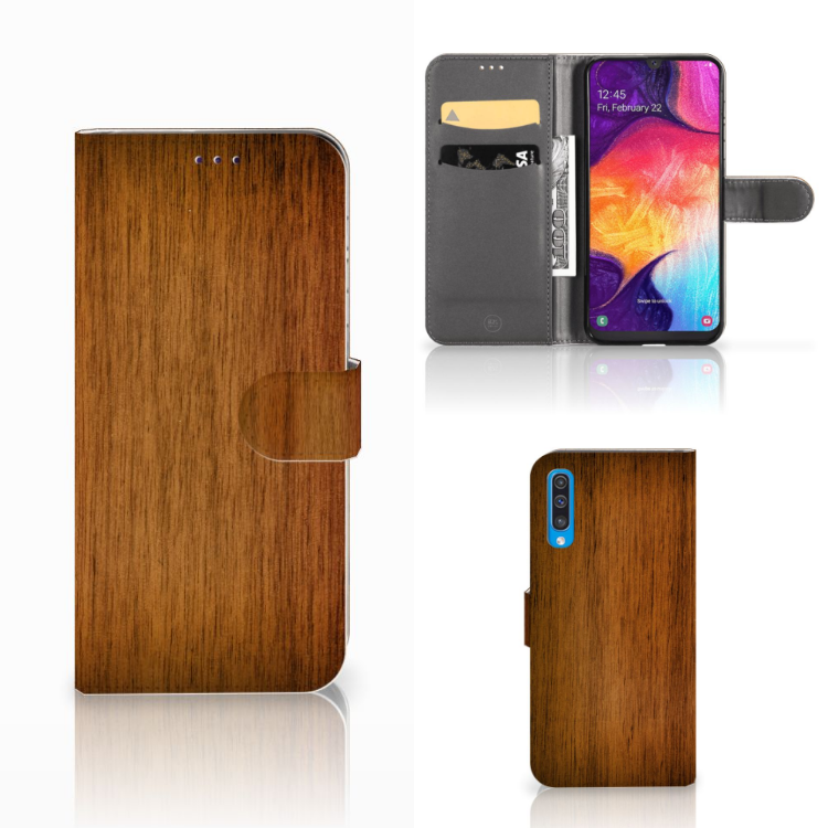 Samsung Galaxy A50 Book Style Case Donker Hout
