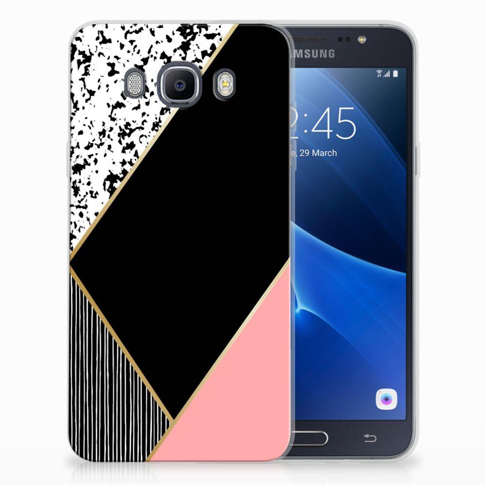 Samsung Galaxy J7 2016 TPU Hoesje Zwart Roze Vormen