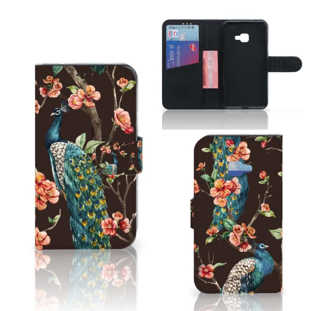 Samsung Galaxy Xcover 4 | Xcover 4s Telefoonhoesje met Pasjes Pauw met Bloemen