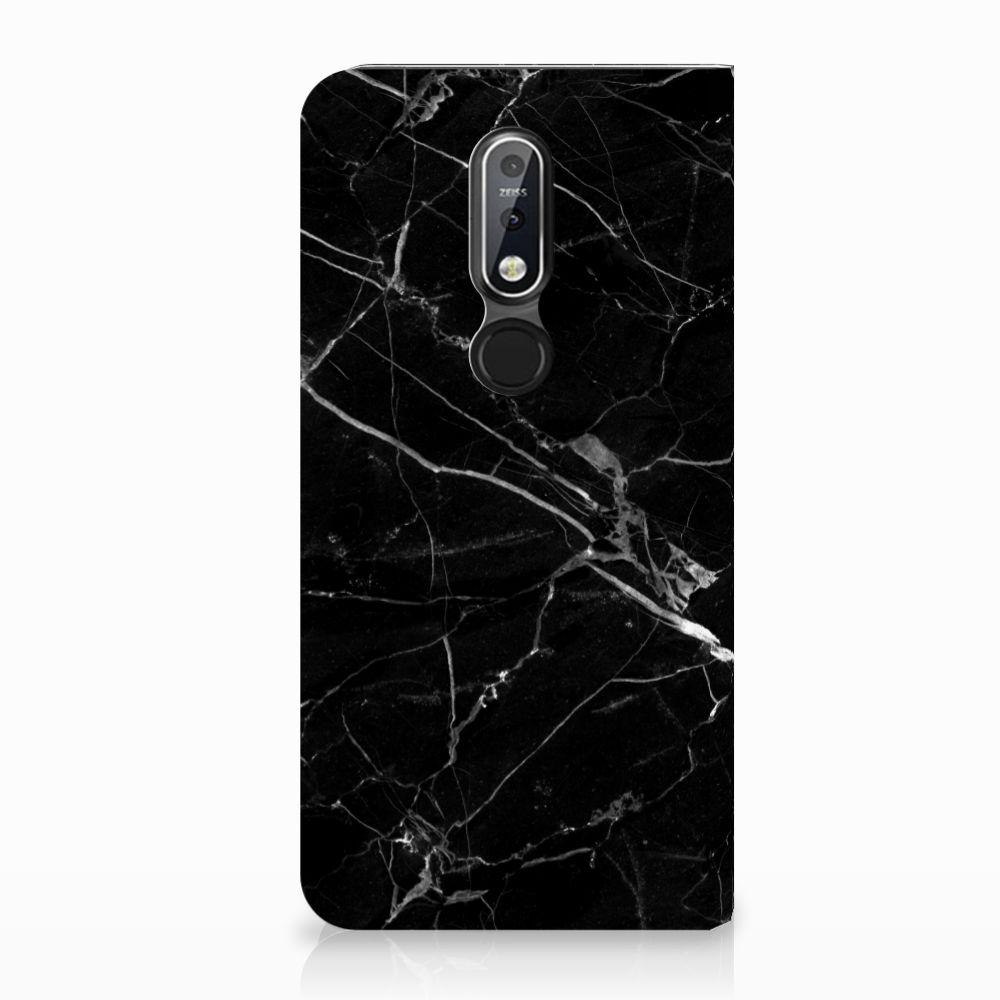 Nokia 7.1 (2018) Uniek Standcase Hoesje Marmer Zwart