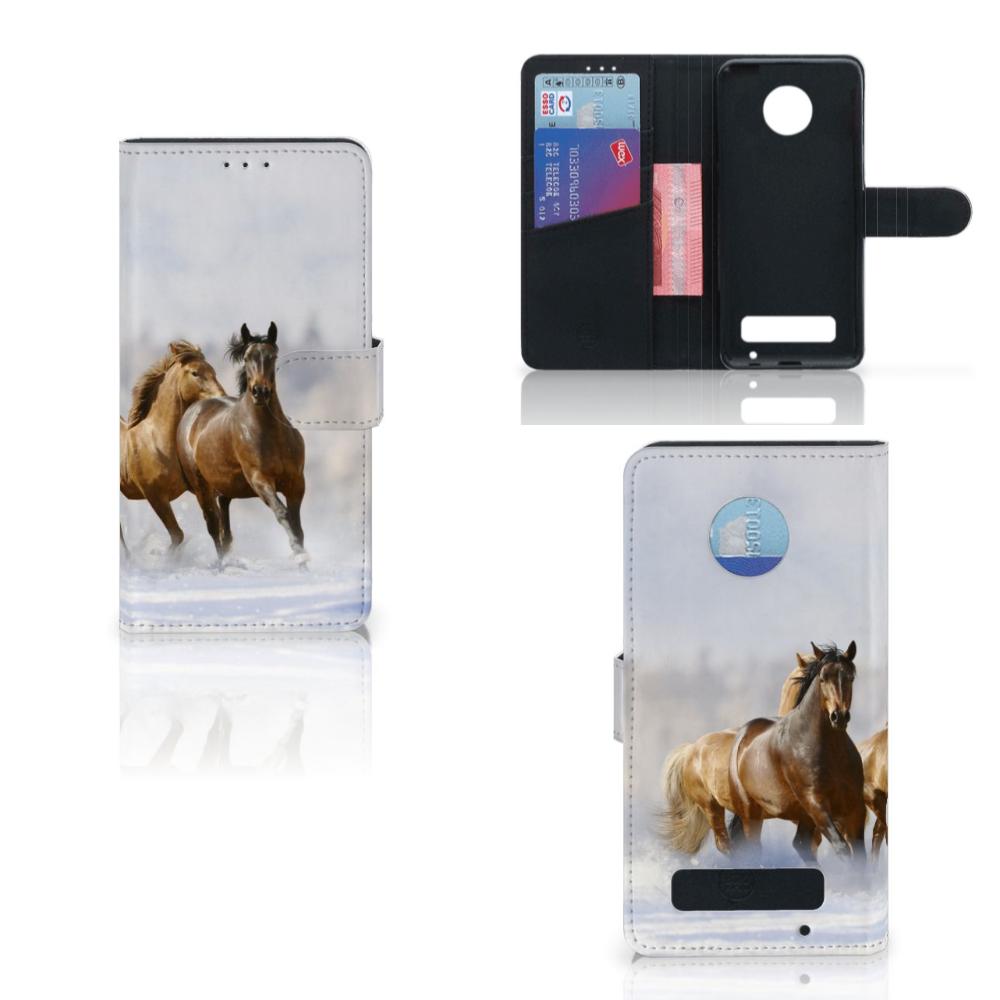 Motorola Moto Z Play Telefoonhoesje met Pasjes Paarden