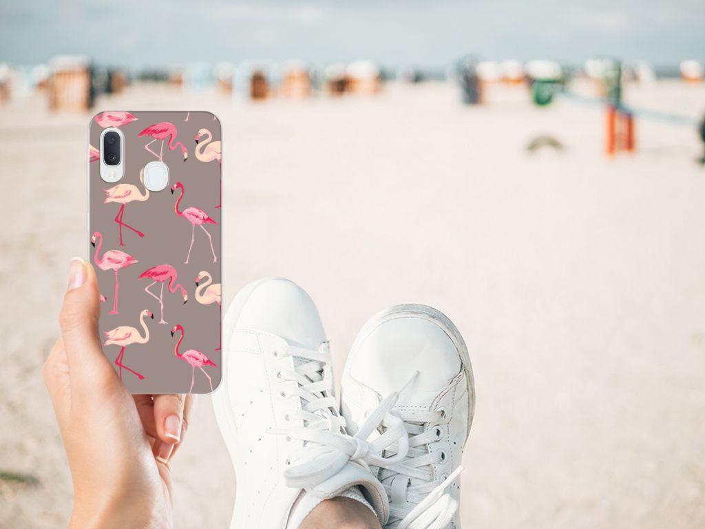 Samsung Galaxy A20e TPU Hoesje Flamingo
