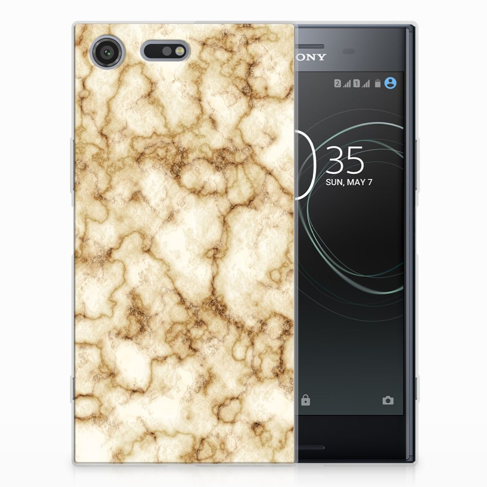 Sony Xperia XZ Premium TPU Siliconen Hoesje Marmer Goud