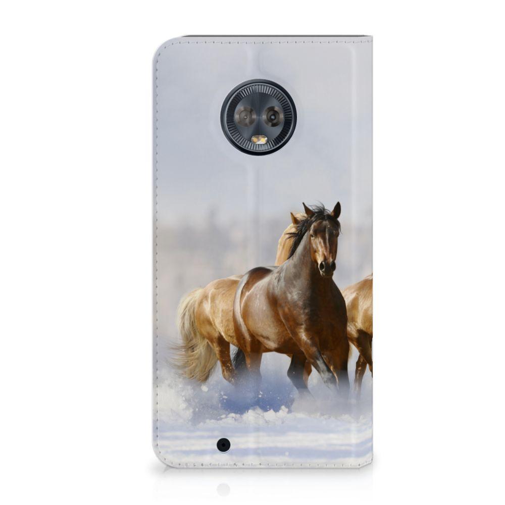 Motorola Moto G6 Uniek Standcase Hoesje Paarden