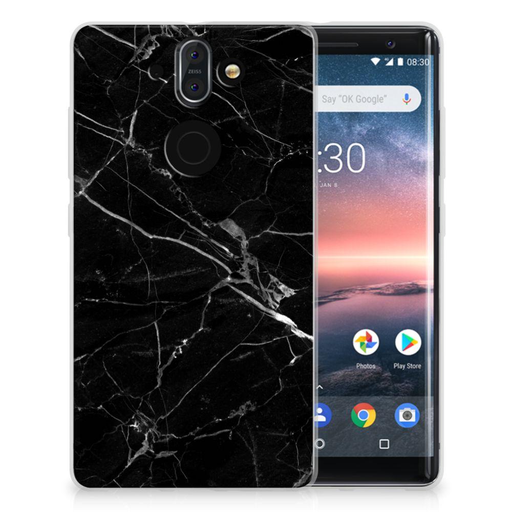 Nokia 9 | 8 Sirocco TPU Siliconen Hoesje Marmer Zwart