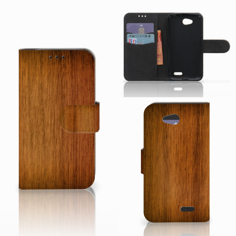 LG L90 Book Style Case Donker Hout