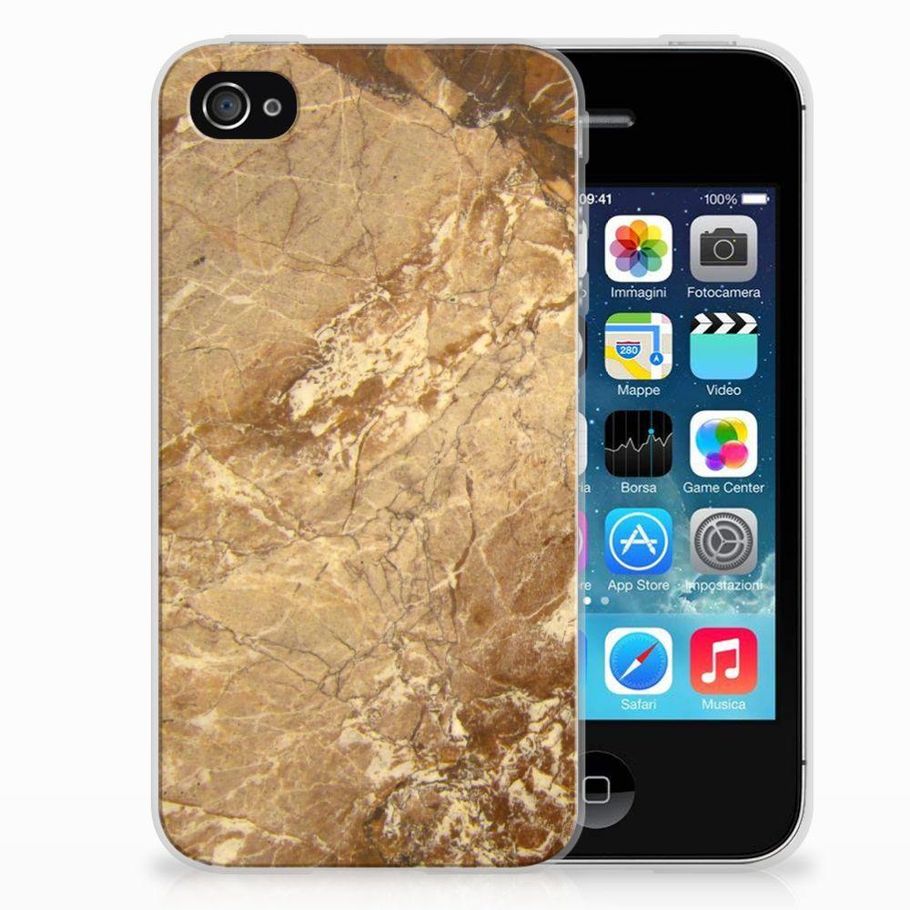 Apple iPhone 4   4s TPU Siliconen Hoesje Marmer Creme