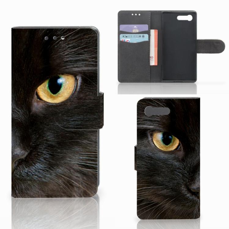Sony Xperia X Compact Telefoonhoesje met Pasjes Zwarte Kat