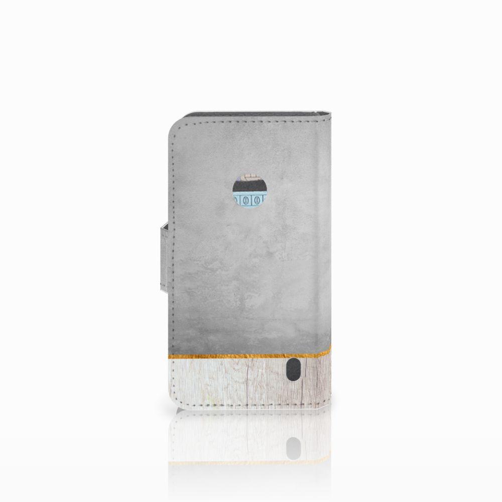 Nokia Lumia 520 Book Style Case Wood Concrete
