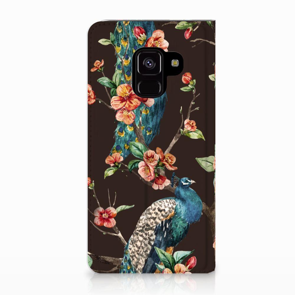 Samsung Galaxy A8 (2018) Standcase Hoesje Design Pauw met Bloemen