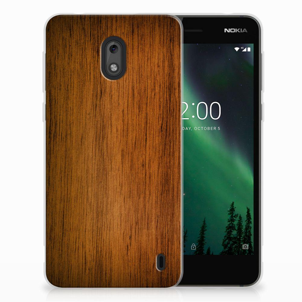 Nokia 2 Uniek TPU Hoesje Donker Hout