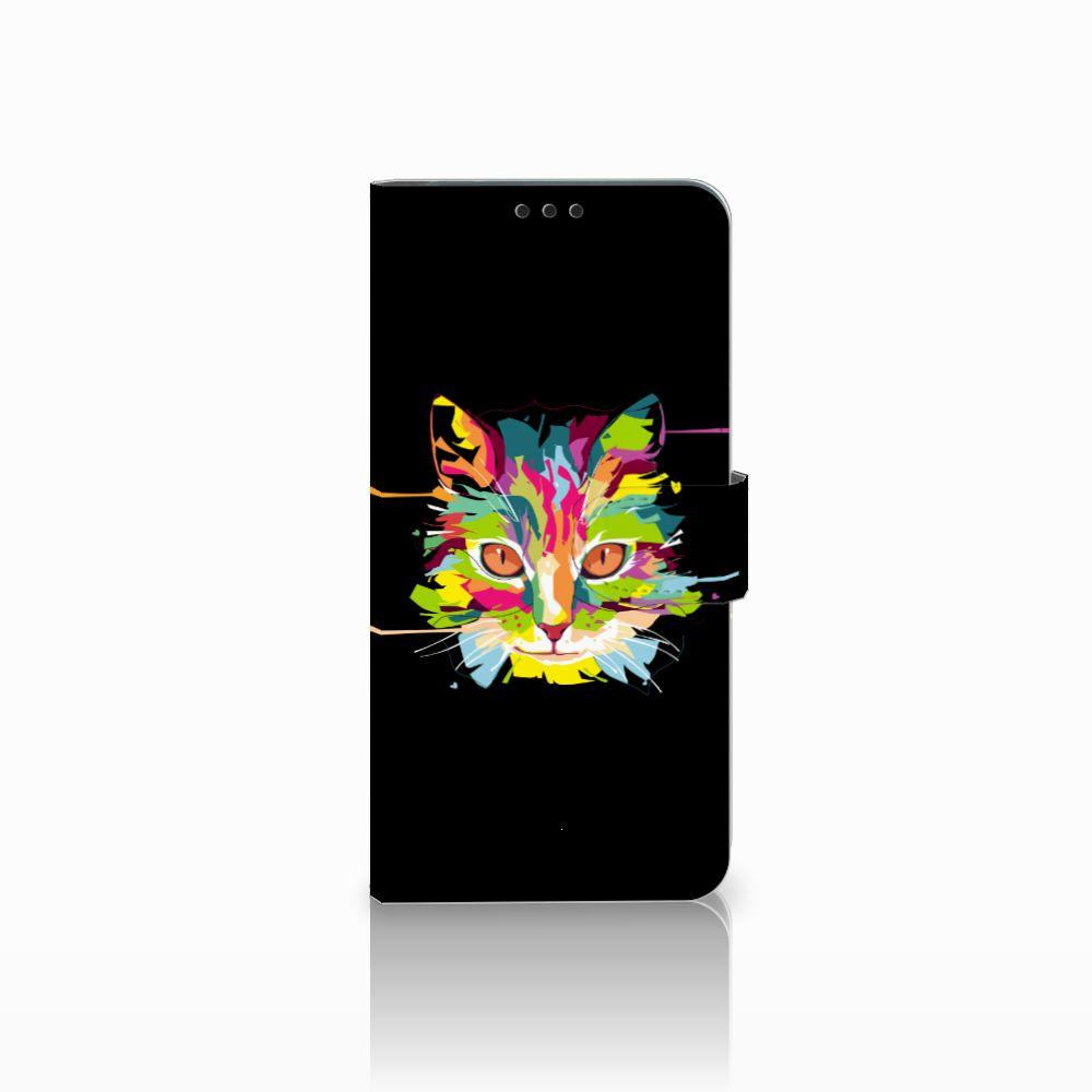Huawei P Smart Plus Uniek Boekhoesje Cat Color