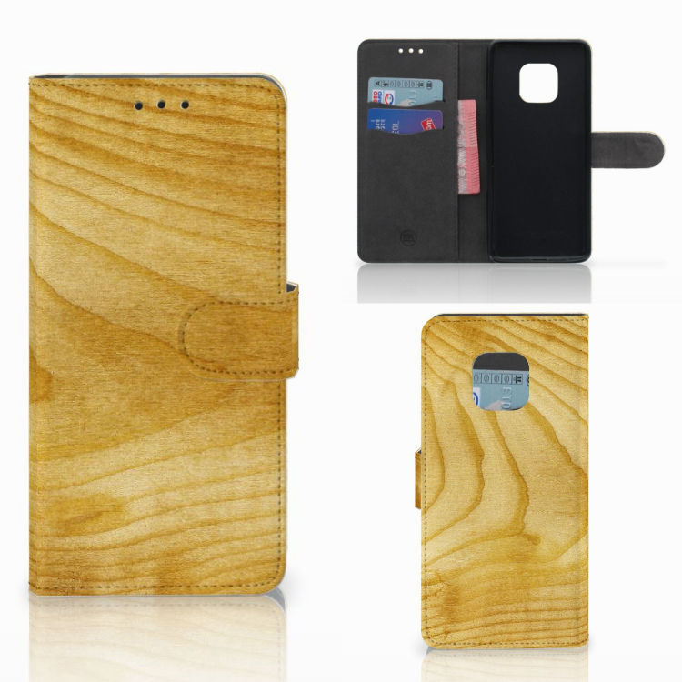 Huawei Mate 20 Pro Book Style Case Licht Hout