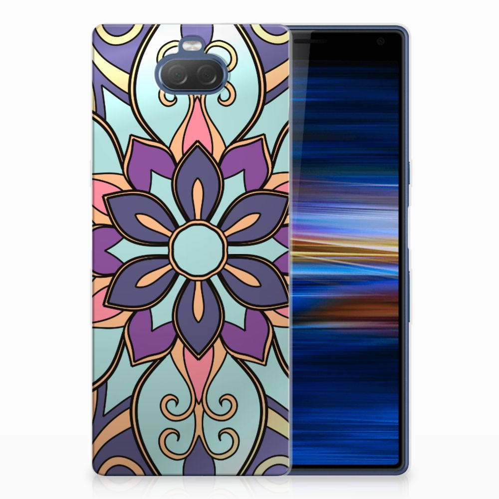 Sony Xperia 10 Plus TPU Hoesje Design Purple Flower