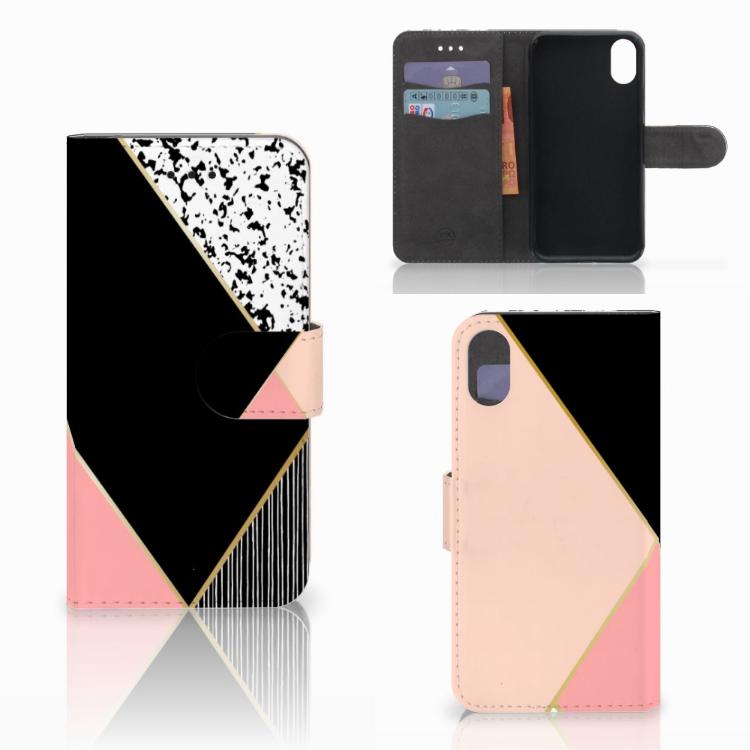 Apple iPhone X   Xs Bookcase Zwart Roze Vormen
