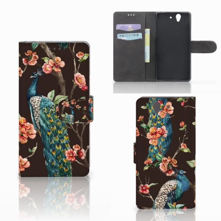 Sony Xperia Z Telefoonhoesje met Pasjes Pauw met Bloemen