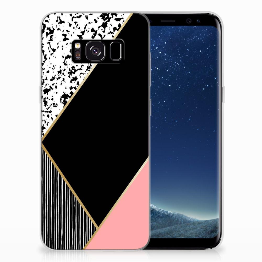 Samsung Galaxy S8 TPU Hoesje Zwart Roze Vormen