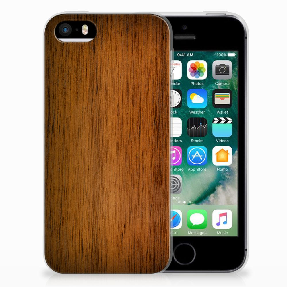 Apple iPhone SE | 5S Bumper Hoesje Donker Hout