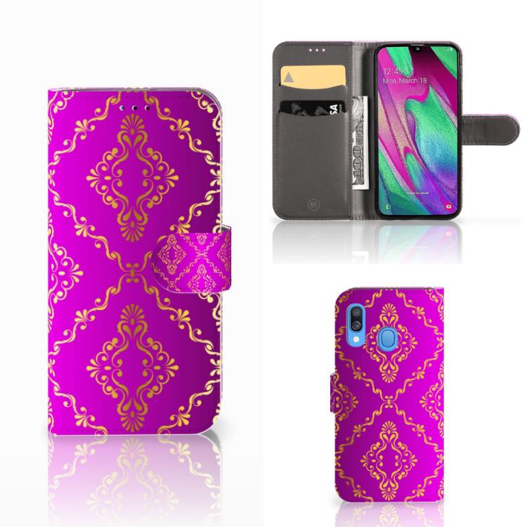Wallet Case Samsung Galaxy A40 Barok Roze
