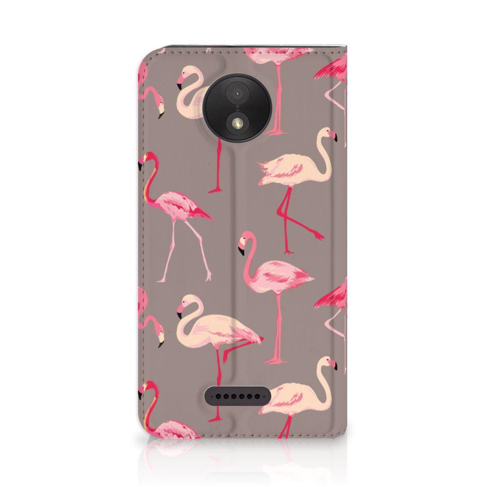 Motorola Moto C Plus Uniek Standcase Hoesje Flamingo