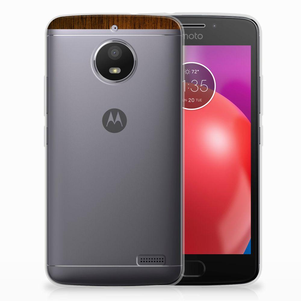 Motorola Moto E4 Uniek TPU Hoesje Donker Hout