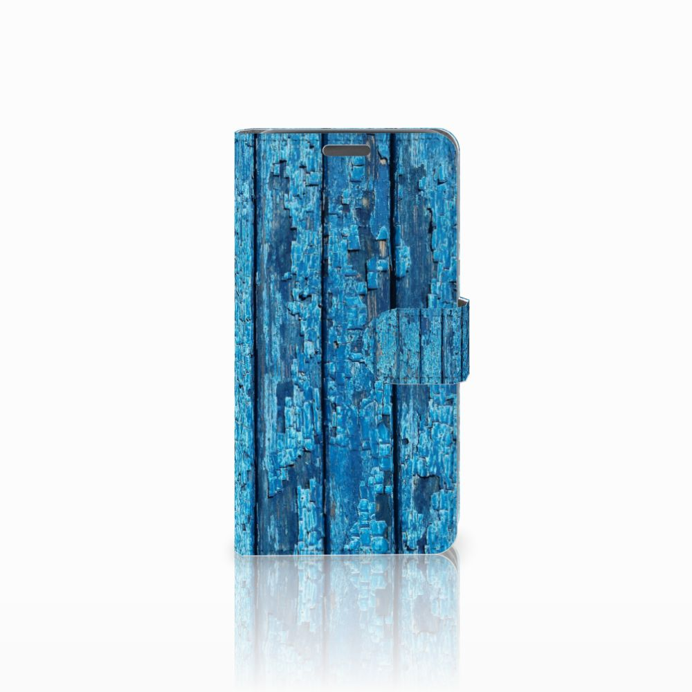 Wiko Lenny Uniek Boekhoesje Wood Blue