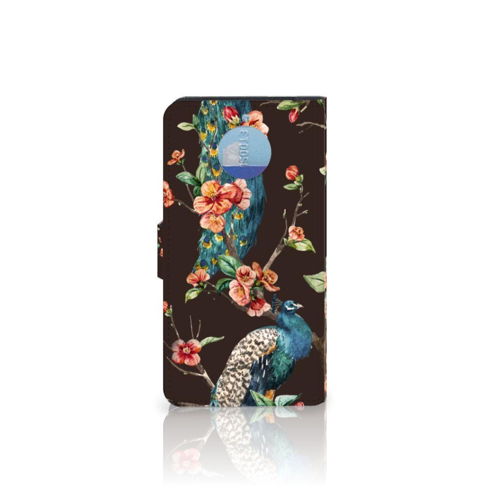 Motorola Moto G5S Plus Telefoonhoesje met Pasjes Pauw met Bloemen
