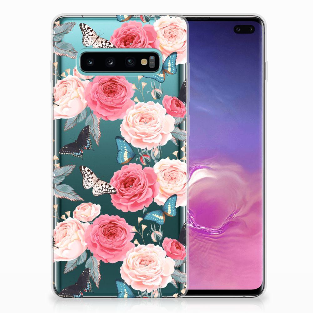 Samsung Galaxy S10 Plus Uniek TPU Hoesje Butterfly Roses
