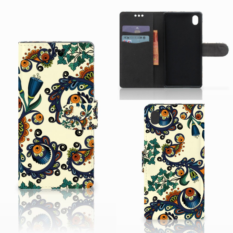 Wallet Case Sony Xperia M4 Aqua Barok Flower