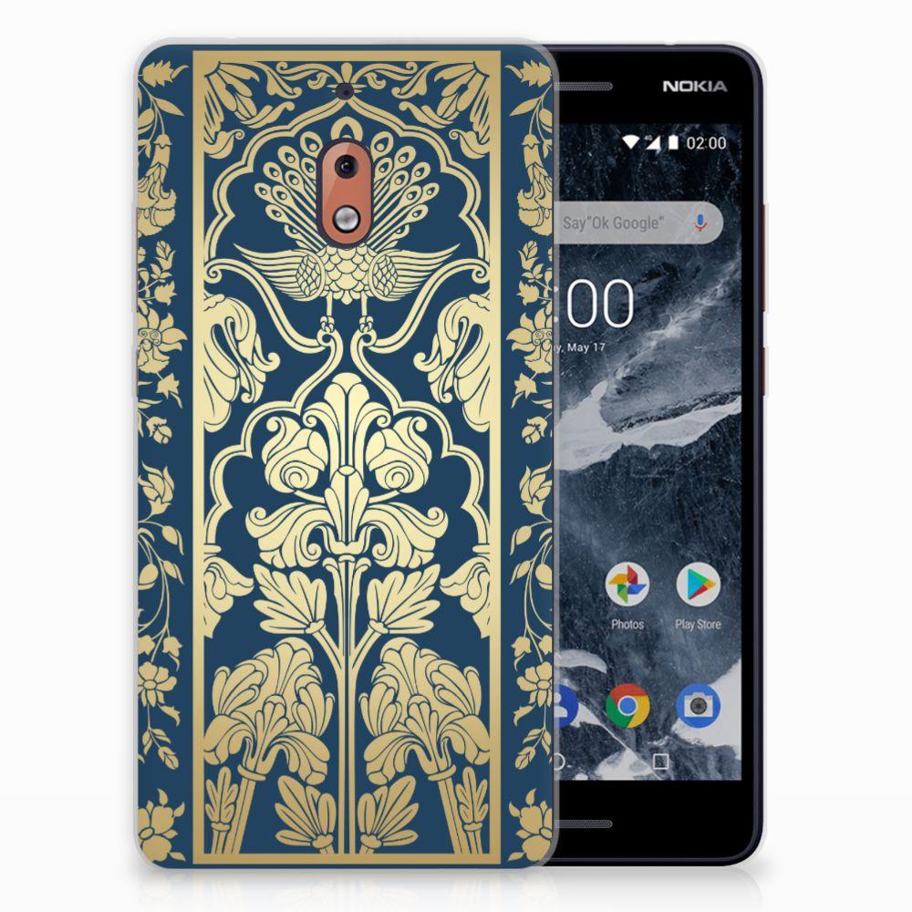 Nokia 2.1 (2018) TPU Hoesje Golden Flowers