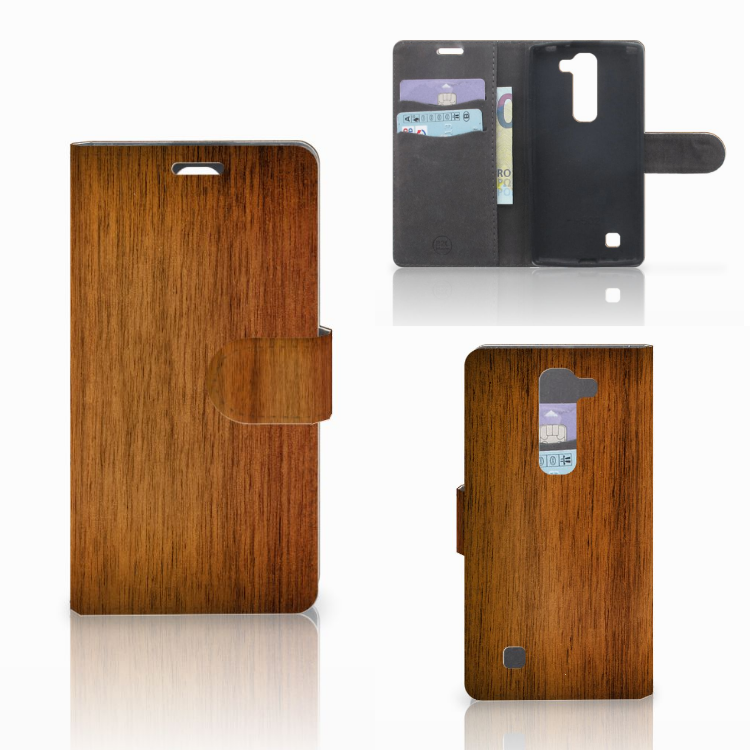 LG Magna | G4C Book Style Case Donker Hout