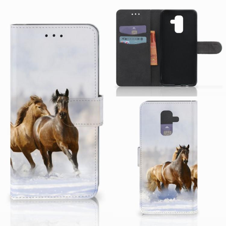 Samsung Galaxy A6 Plus 2018 Telefoonhoesje met Pasjes Paarden