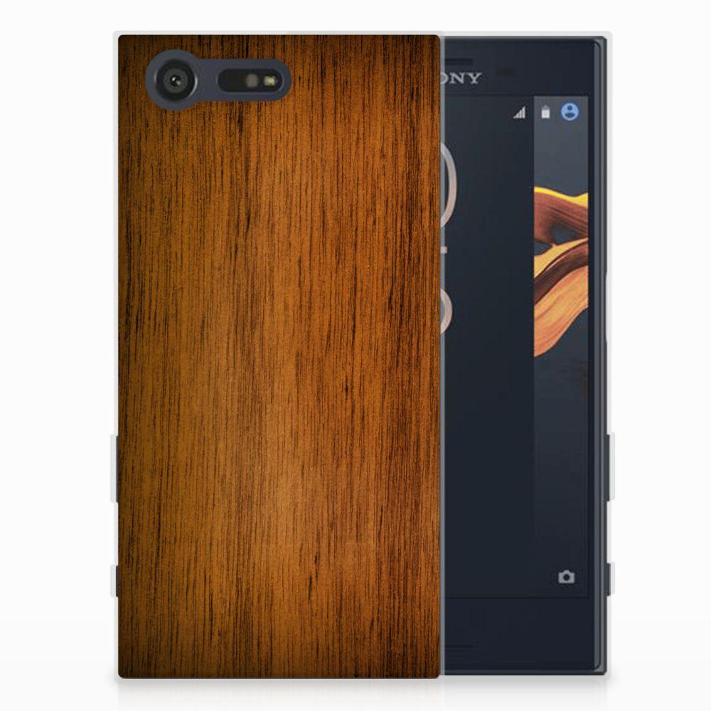 Sony Xperia X Compact Uniek TPU Hoesje Donker Hout