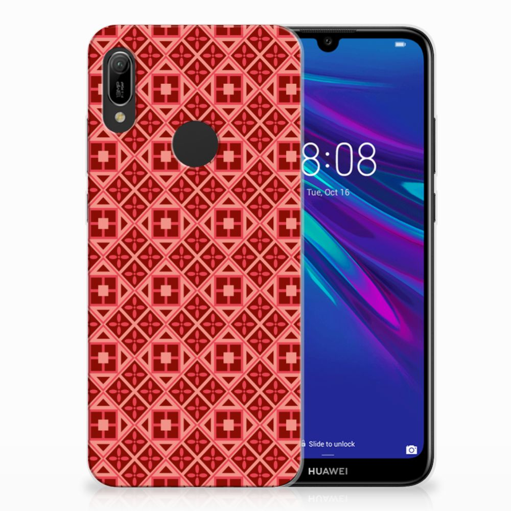 Huawei Y6 2019 | Y6 Pro 2019 Uniek TPU Hoesje Batik Red