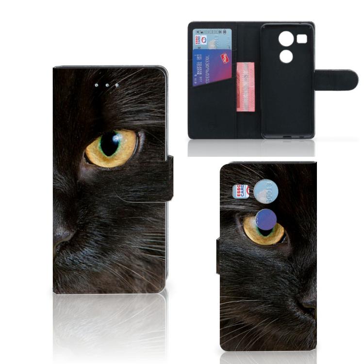 LG Nexus 5X Telefoonhoesje met Pasjes Zwarte Kat