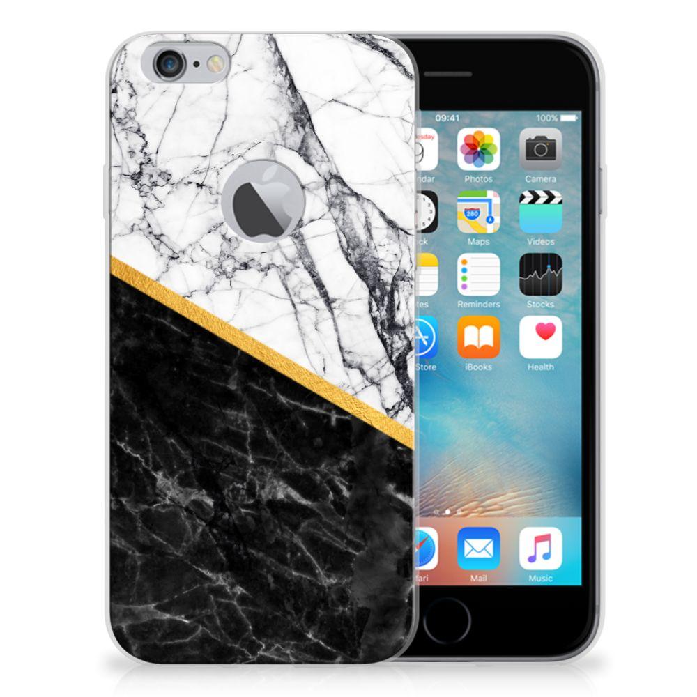 Apple iPhone 6 Plus | 6s Plus TPU Siliconen Hoesje Marmer Wit Zwart