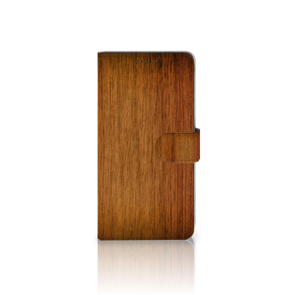 Samsung Galaxy A8 Plus (2018) Uniek Boekhoesje Donker Hout