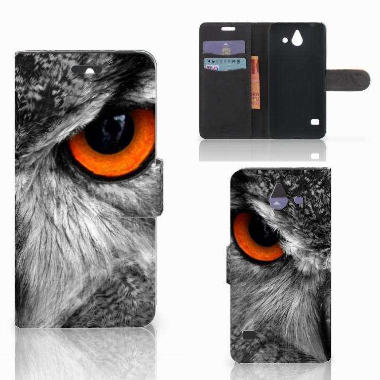 Huawei Ascend Y550 Telefoonhoesje met Pasjes Uil