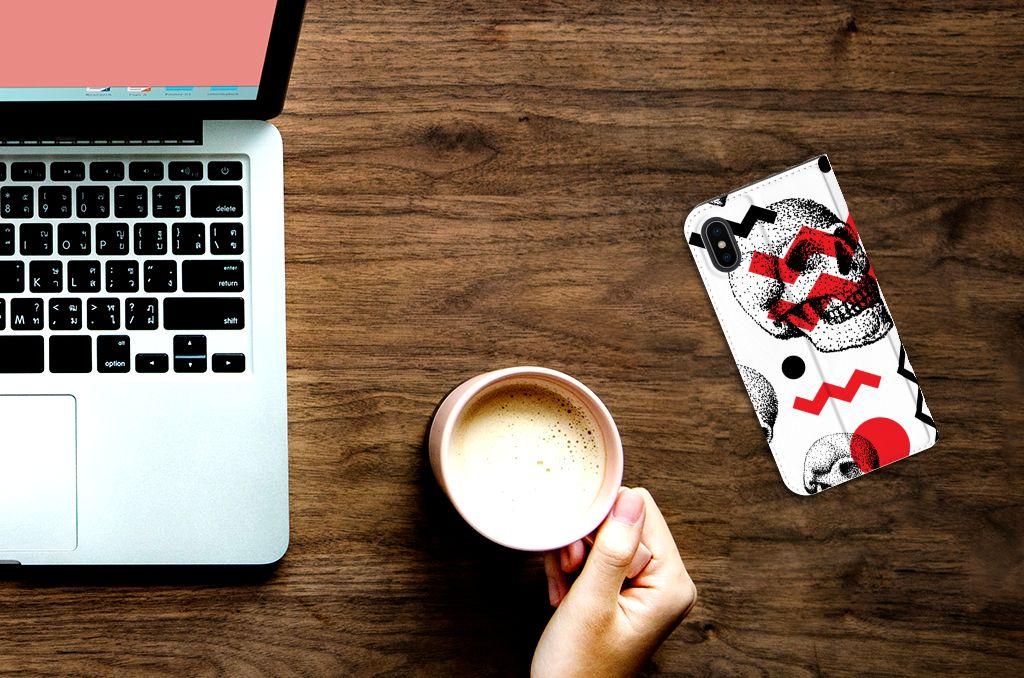 Apple iPhone X | Xs Standcase Hoesje Design Skull Red