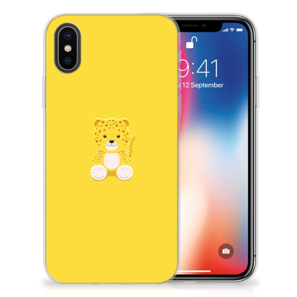 Apple iPhone X | Xs Telefoonhoesje met Naam Baby Leopard