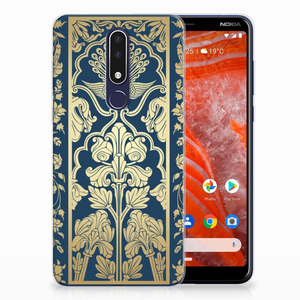 Nokia 3.1 Plus TPU Hoesje Golden Flowers